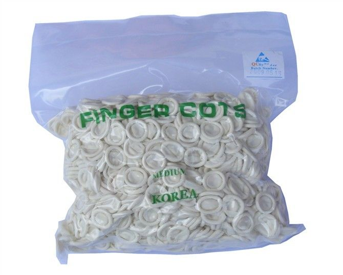 Natural Anti Static Latex Finger Cots , Dust Free White Latex Thumb Covers